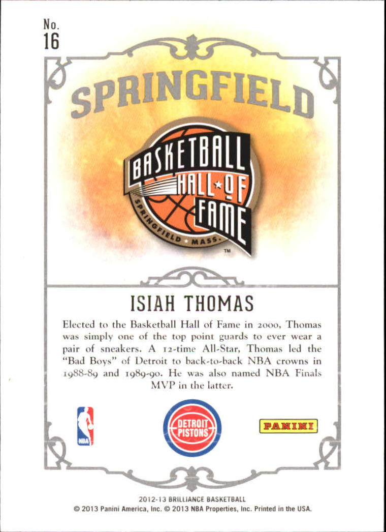 2012-13 Panini Brilliance Springfield #16 Isiah Thomas back image