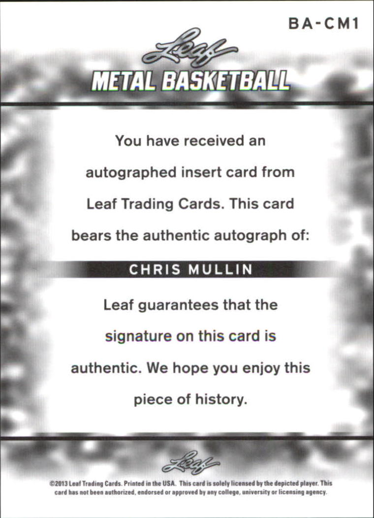 2012-13 Leaf Metal #BACM1 Chris Mullin