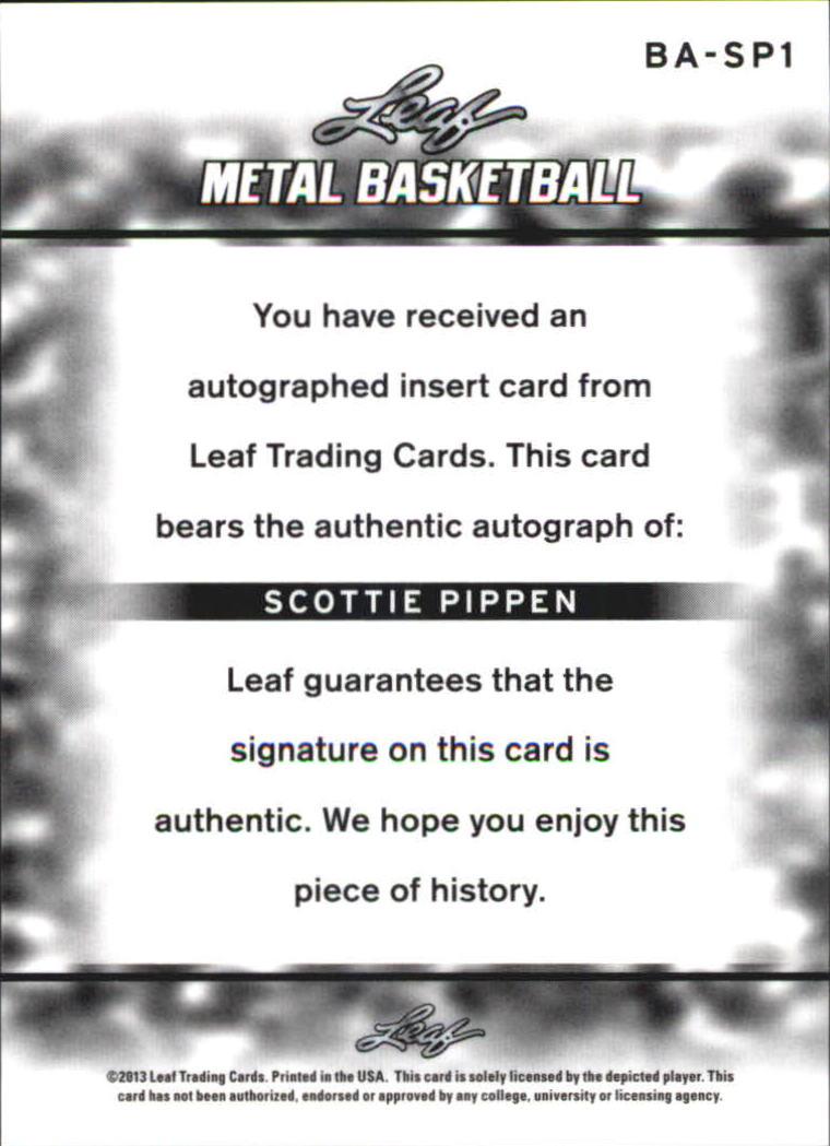 2012-13 Leaf Metal #BASP1 Scottie Pippen