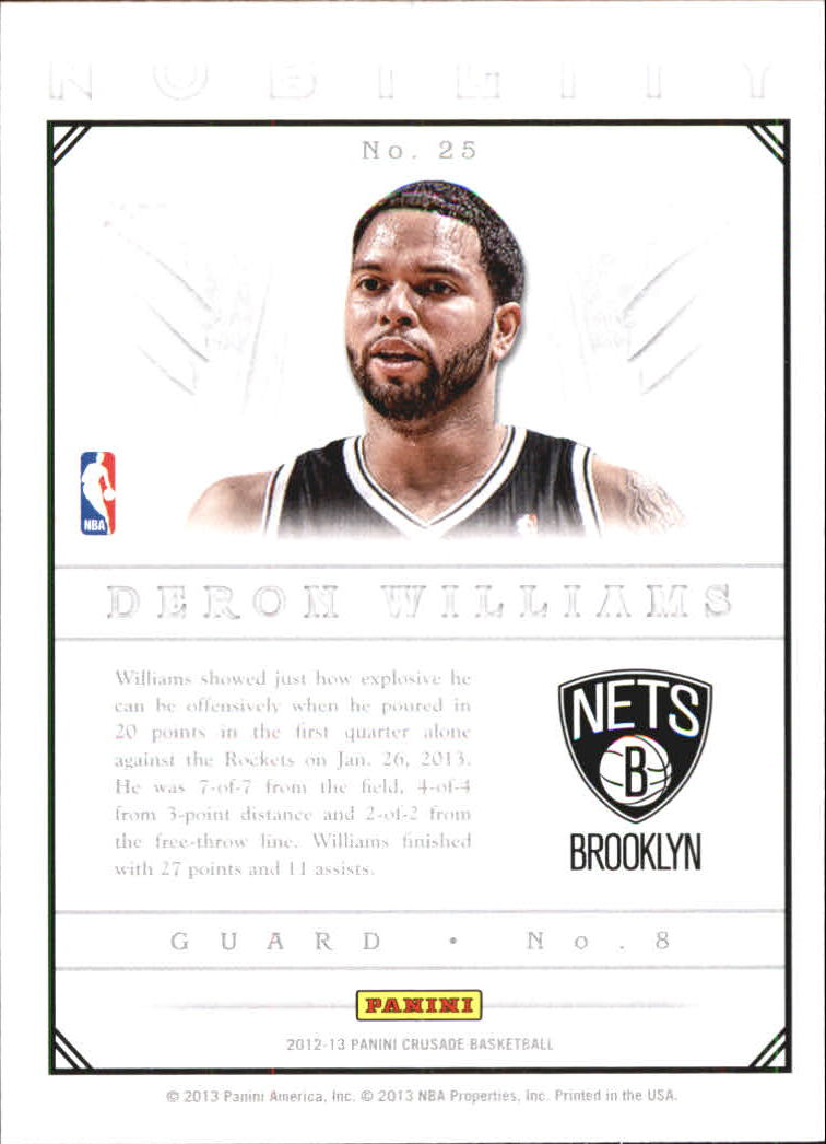2012-13 Panini Crusade Nobility #25 Deron Williams