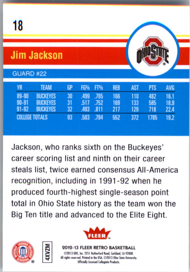 2012-13 Fleer Retro #18 Jim Jackson