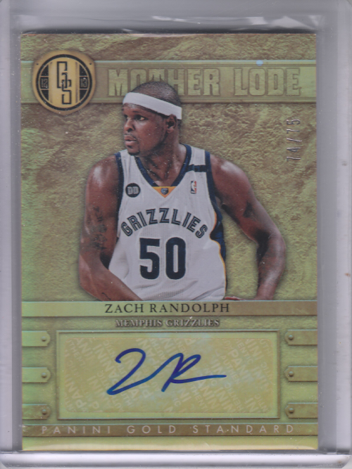 2012-13 Panini Gold Standard Mother Lode Autographs #10 Zach Randolph/75