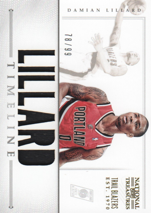 2012-13 Panini National Treasures Timeline Materials Custom Names #16 Damian Lillard/99