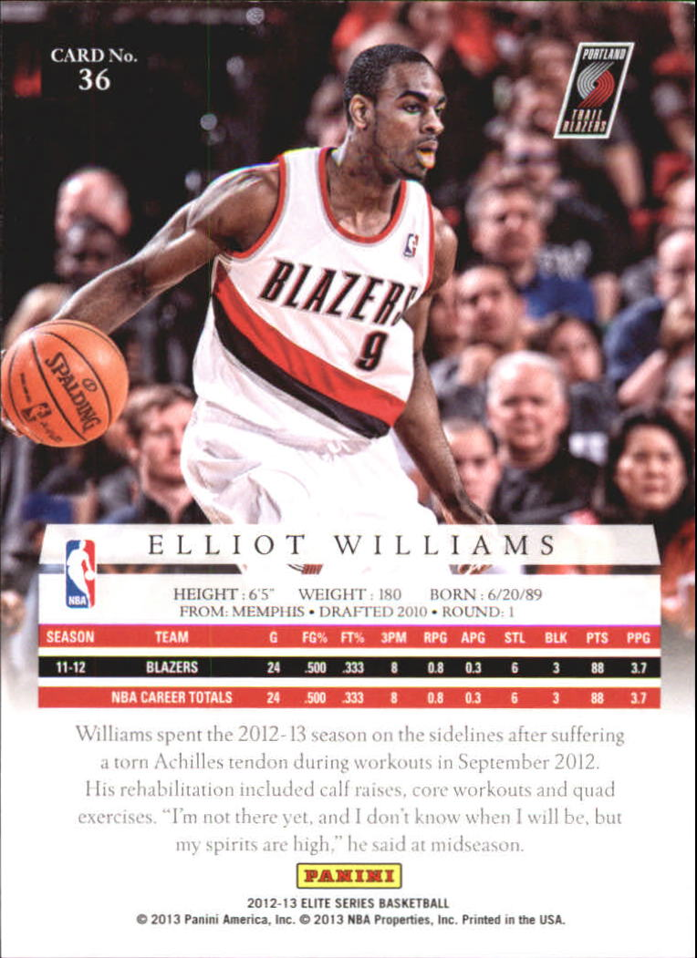 2012-13 Elite Series #36 Elliot Williams