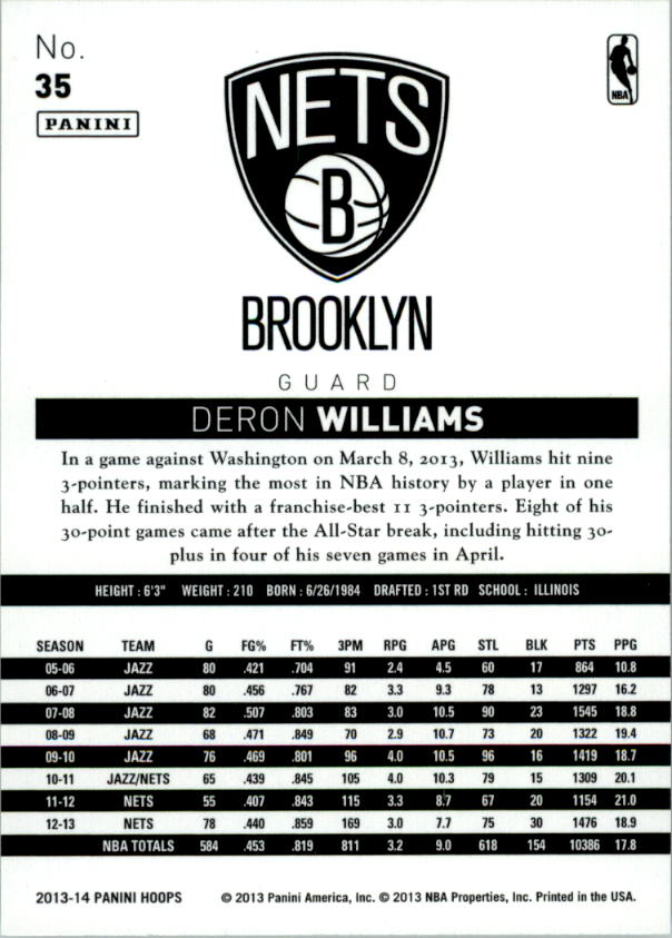 2013-14 Hoops Gold #35 Deron Williams