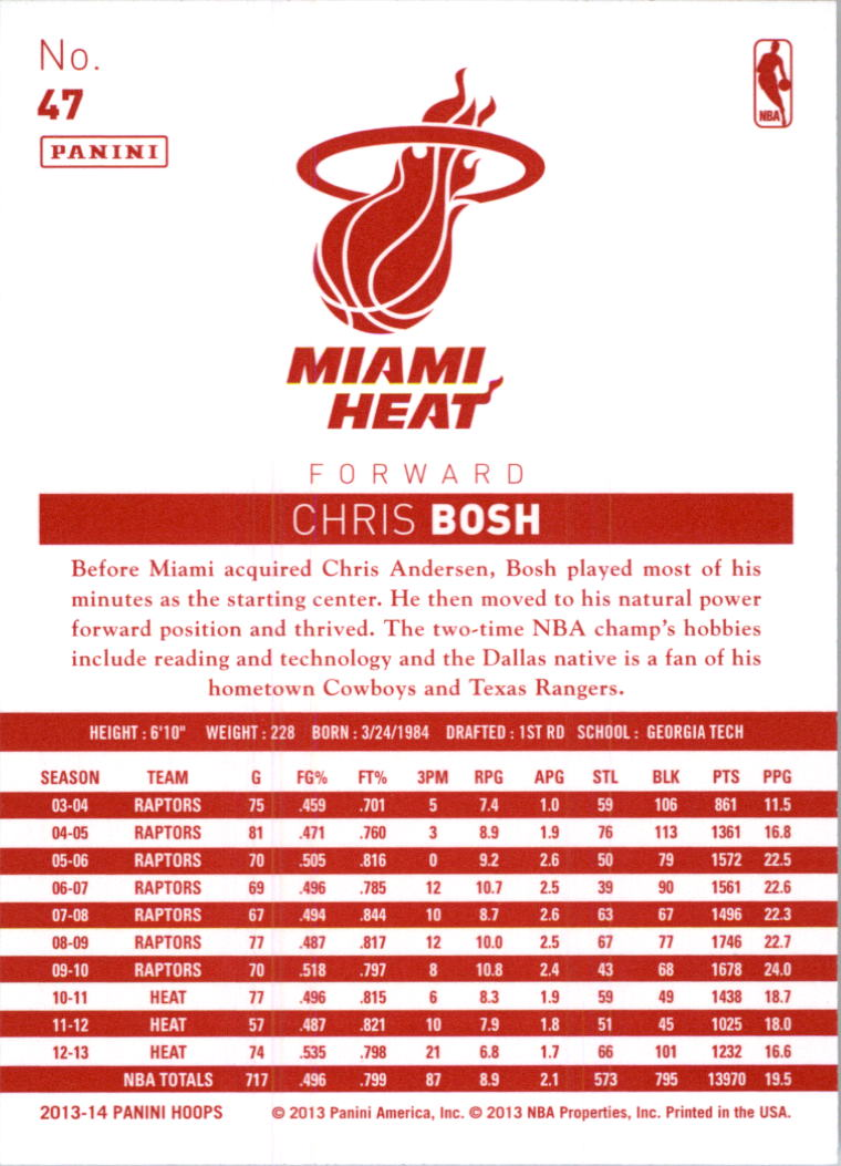 2013-14 Hoops Red Backs #47 Chris Bosh