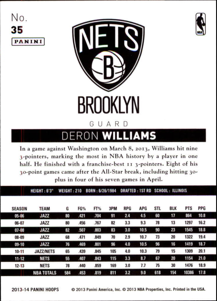 2013-14 Hoops Red #35 Deron Williams