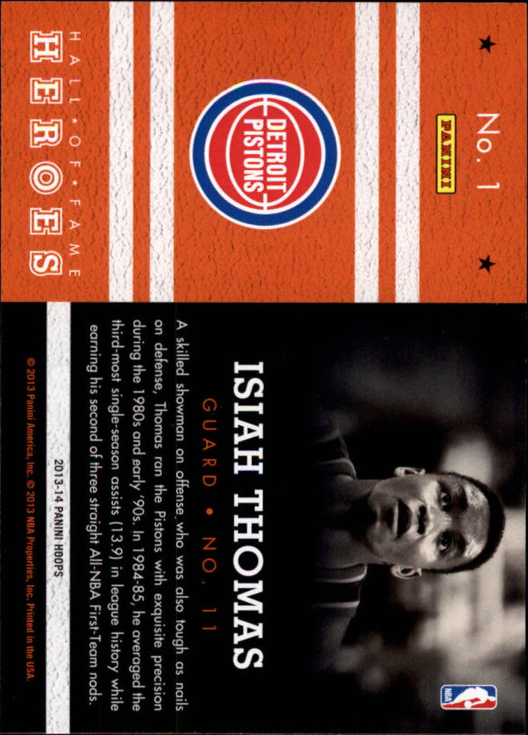 2013-14 Hoops Hall of Fame Heroes #1 Isiah Thomas back image