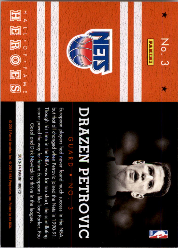 2013-14 Hoops Hall of Fame Heroes #3 Drazen Petrovic back image