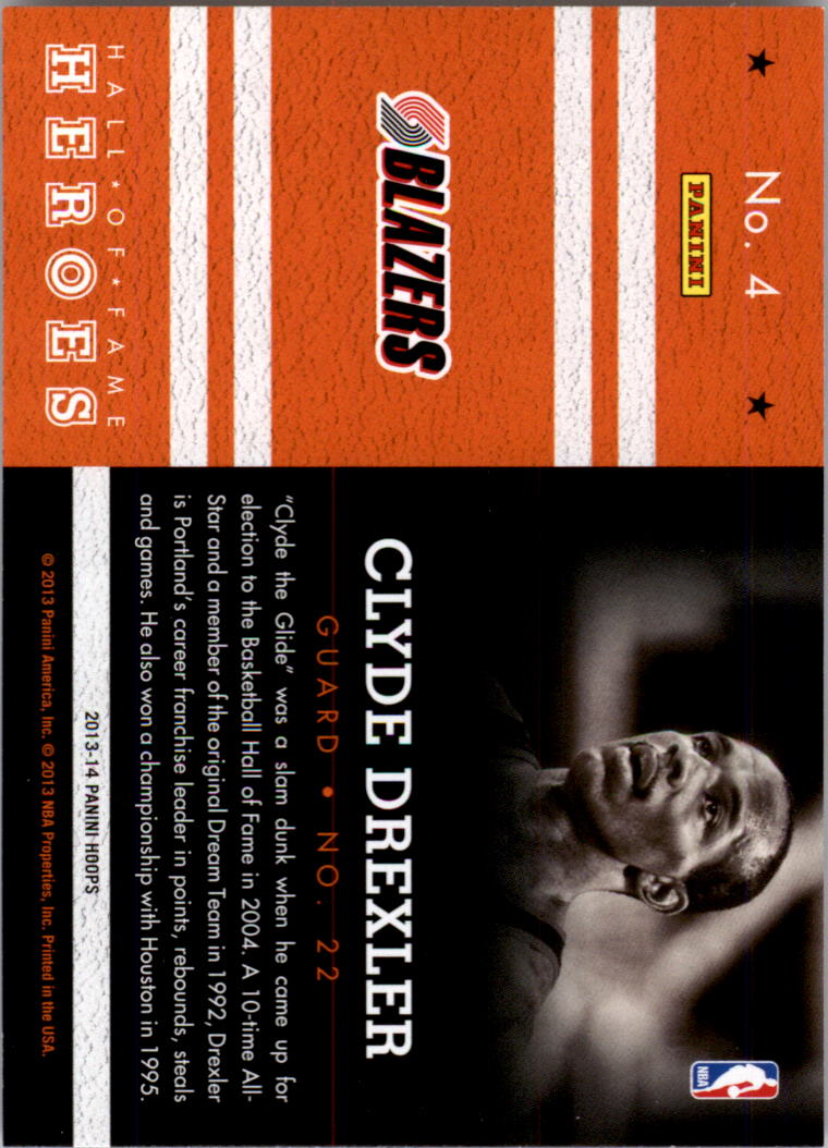 2013-14 Hoops Hall of Fame Heroes #4 Clyde Drexler back image