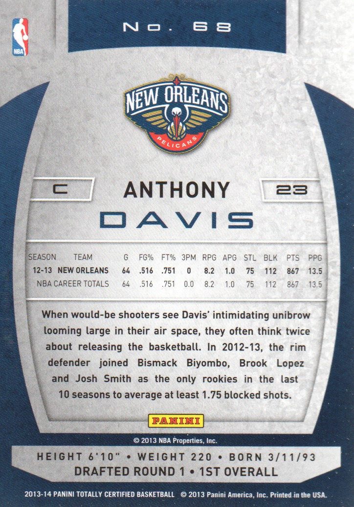 2013-14 Totally Certified #68 Anthony Davis