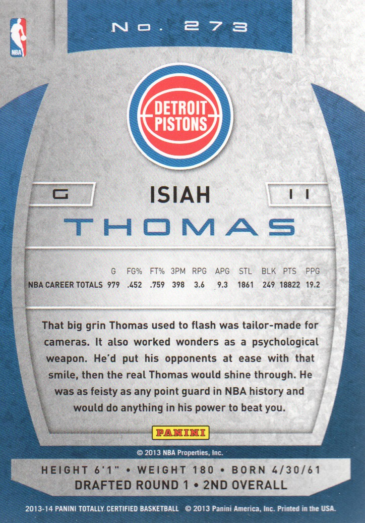 2013-14 Totally Certified #273 Isiah Thomas