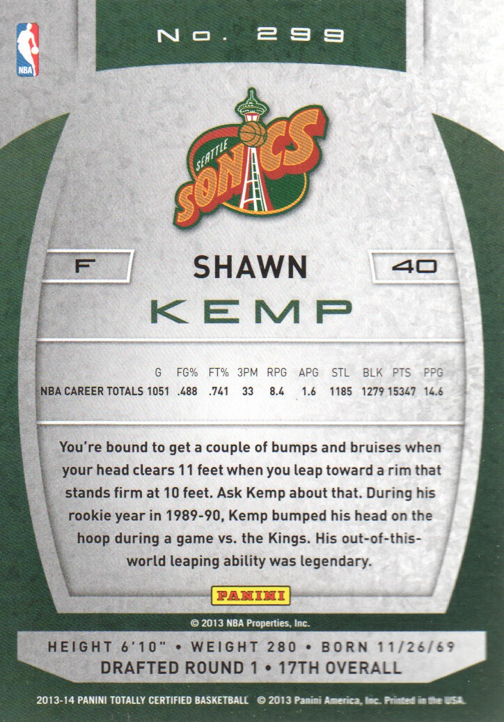 2013-14 Totally Certified #299 Shawn Kemp