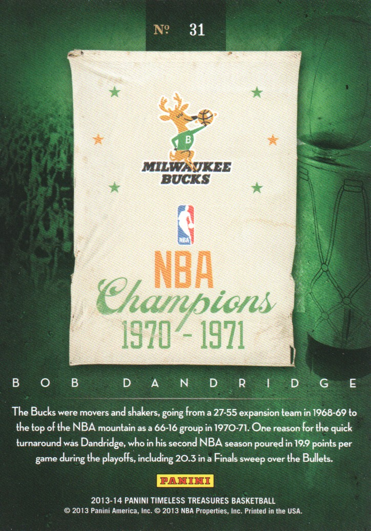 2013-14 Timeless Treasures Timeless Teams #31 Bob Dandridge back image