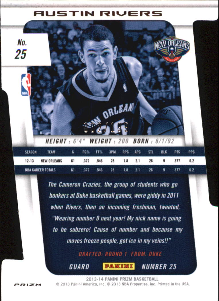 2013-14 Panini Prizm Prizms Light Blue Die Cut #25 Austin Rivers