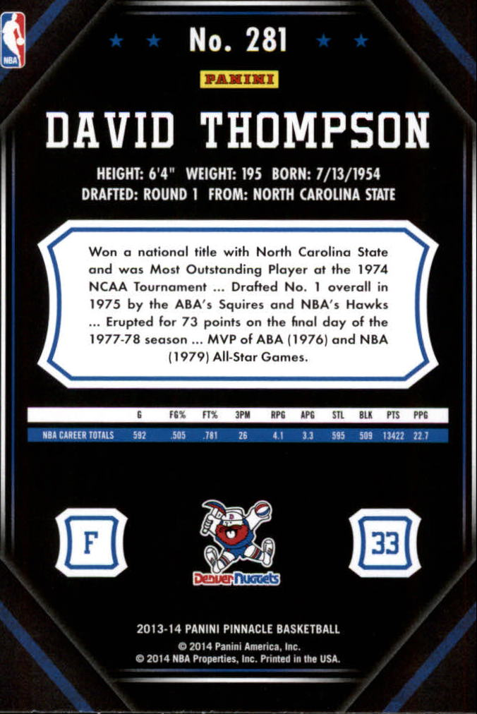2013-14 Pinnacle #281 David Thompson