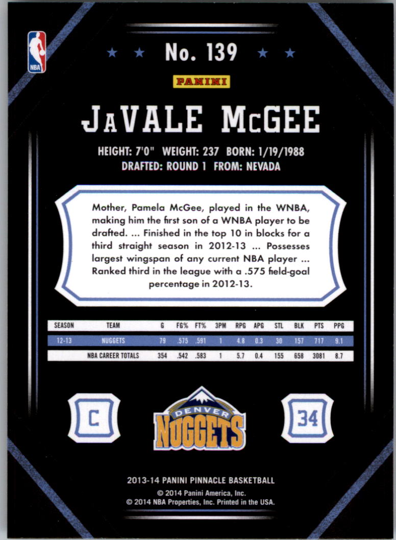 2013-14 Pinnacle Artist's Proofs #139 JaVale McGee