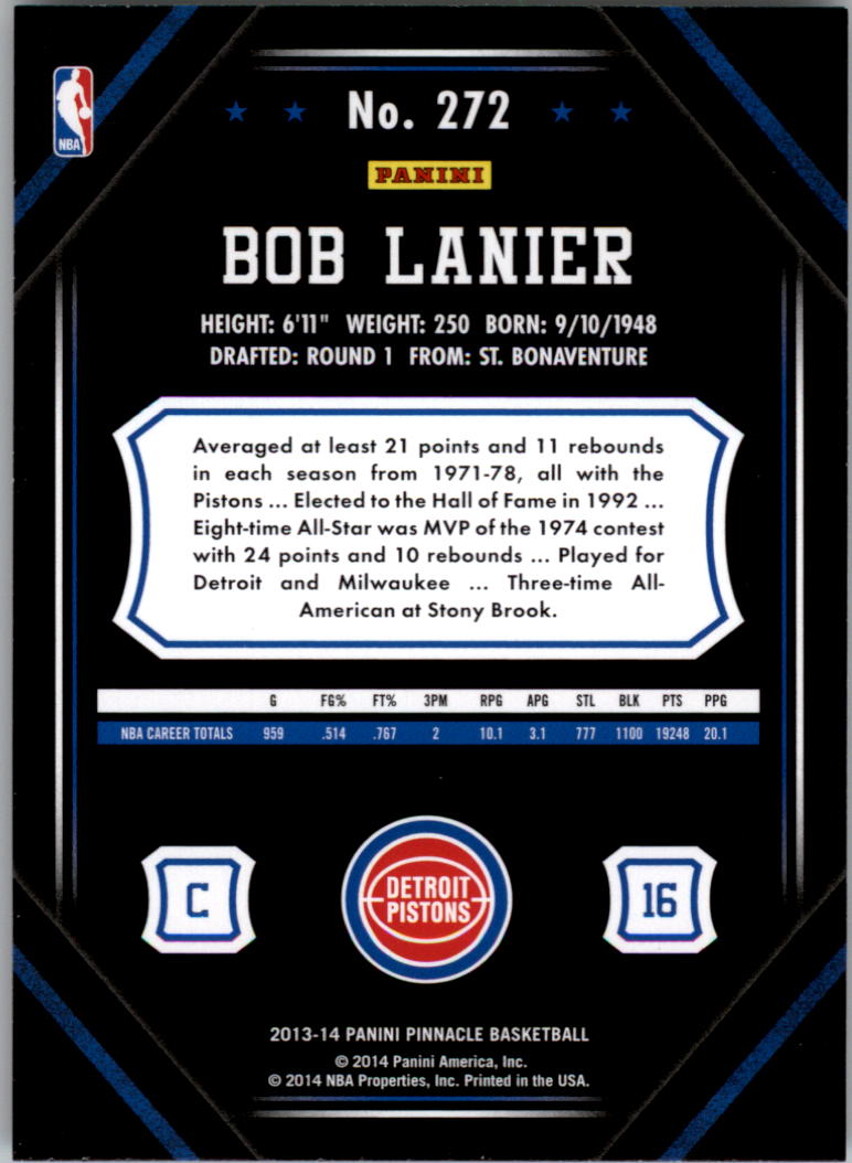 2013-14 Pinnacle Artist's Proofs #272 Bob Lanier