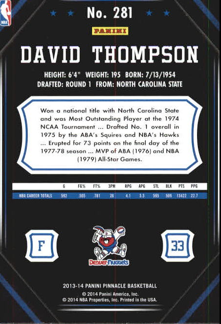 2013-14 Pinnacle Artist's Proofs Blue #281 David Thompson