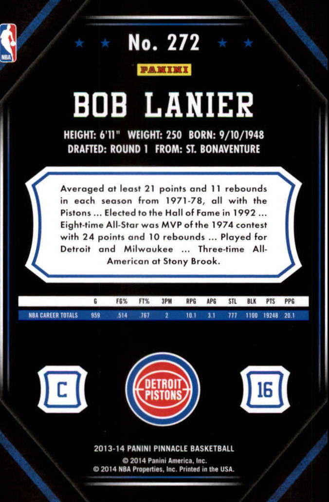 2013-14 Pinnacle Artist's Proofs Green #272 Bob Lanier