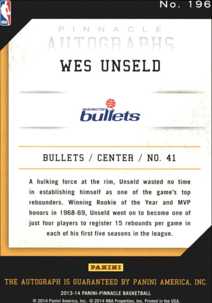 2013-14 Pinnacle Autographs #196 Wes Unseld