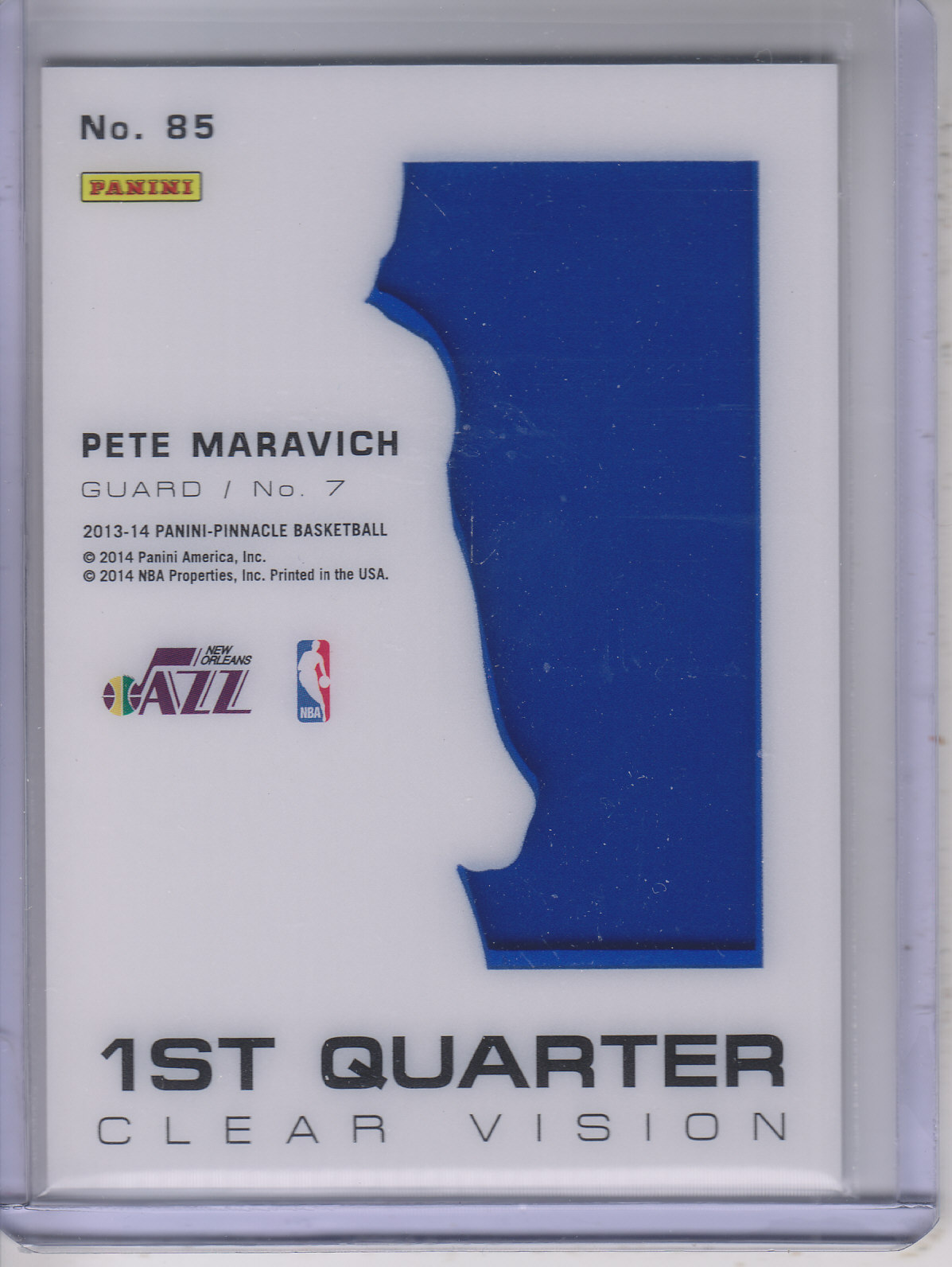 2013-14 Pinnacle Clear Vision 1st Quarter #85 Pete Maravich