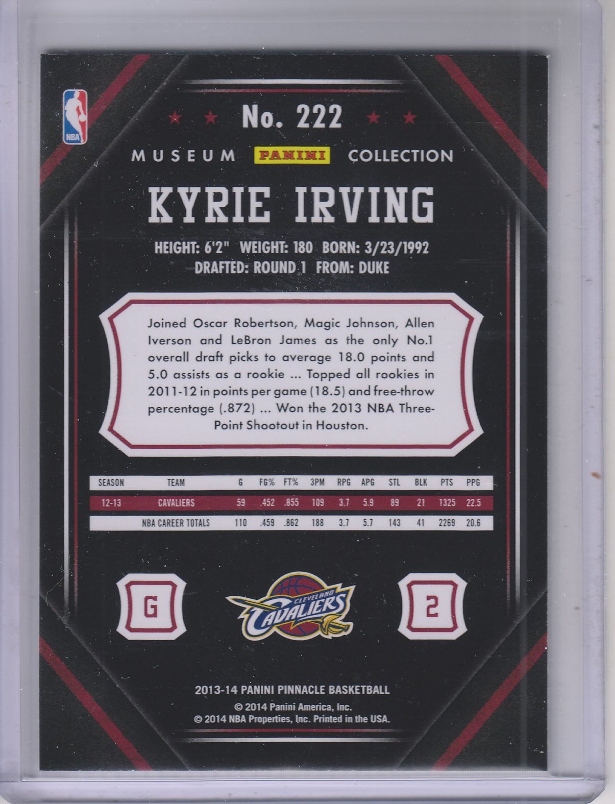 2013-14 Pinnacle Museum Collection #222 Kyrie Irving
