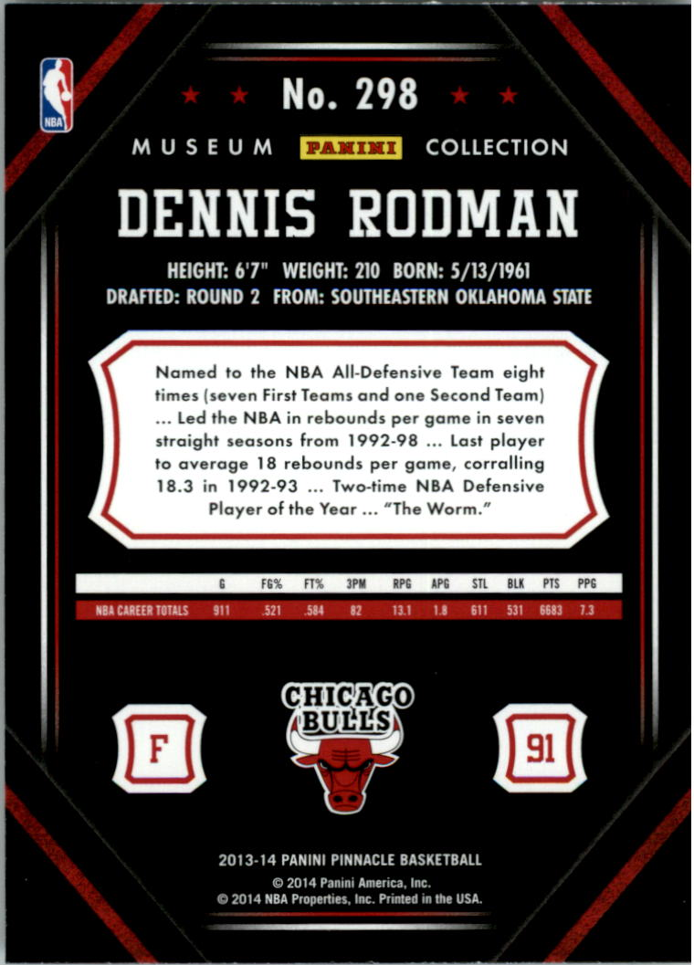 2013-14 Pinnacle Museum Collection #298 Dennis Rodman