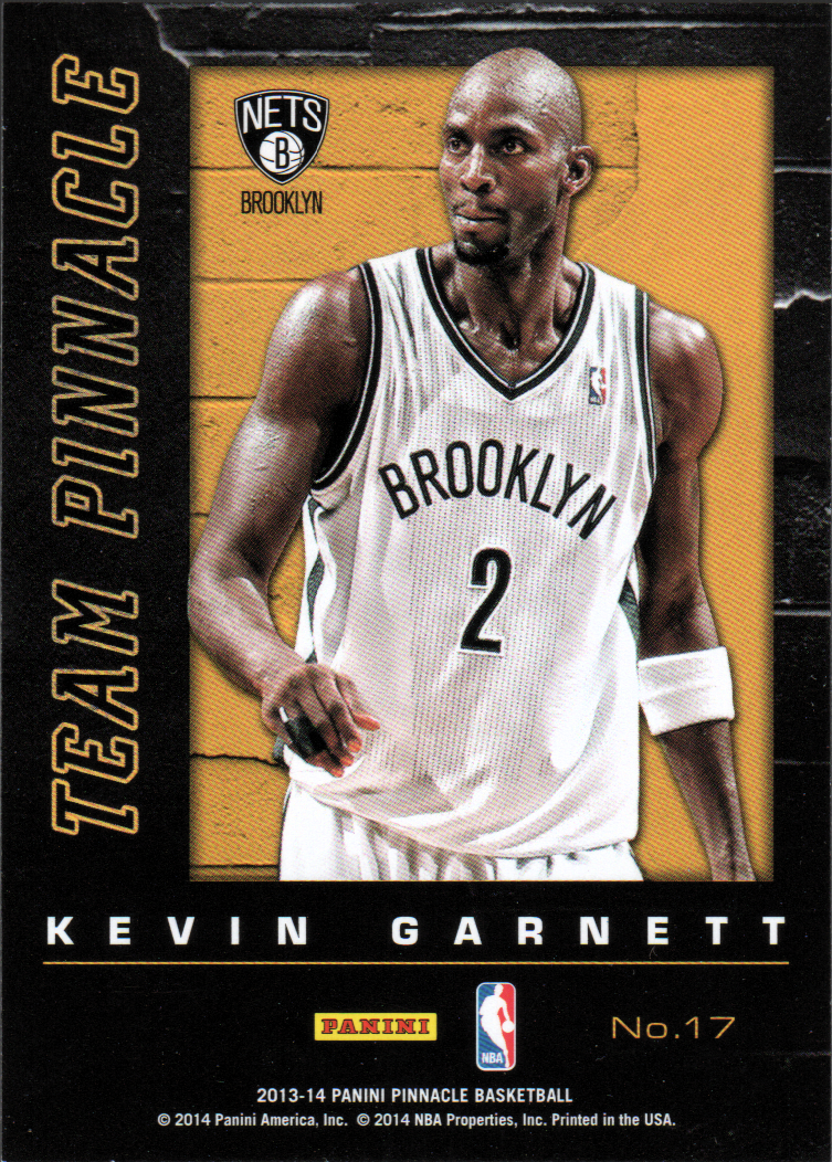 2013-14 Pinnacle Team Pinnacle Artist's Proofs #17 Kevin Garnett/Tim Duncan
