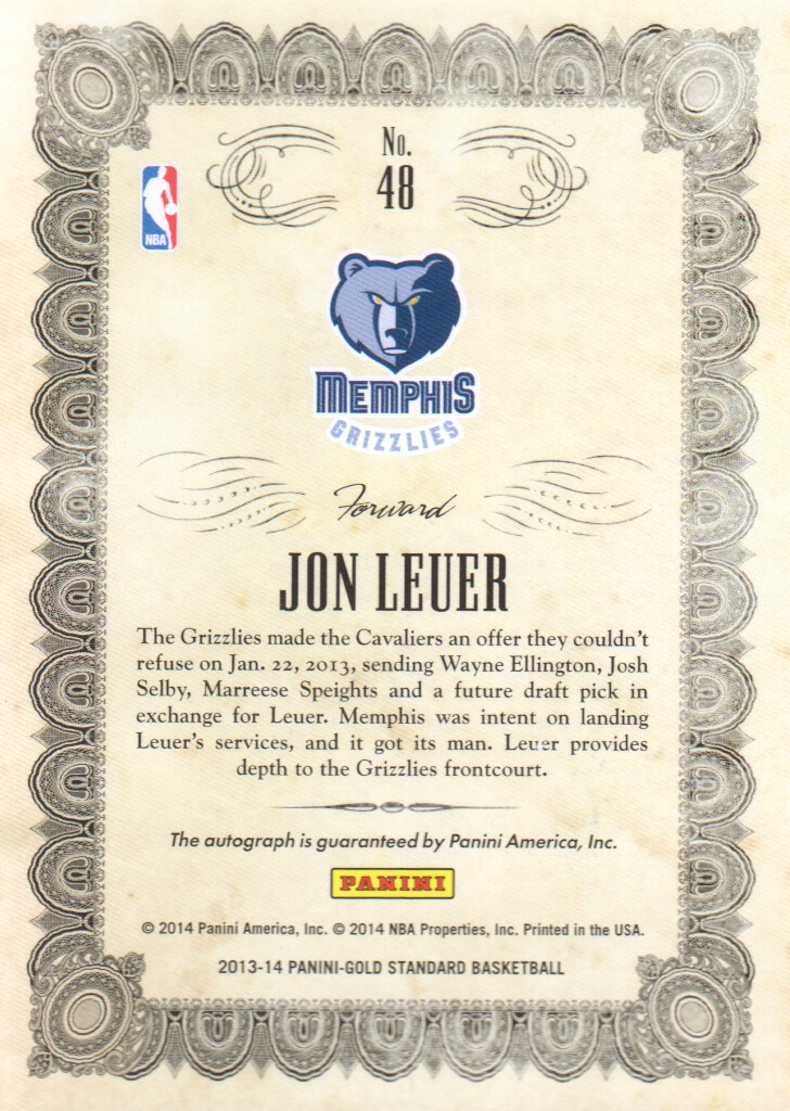 2013-14 Panini Gold Standard Mother Lode Autographs #48 Jon Leuer/299