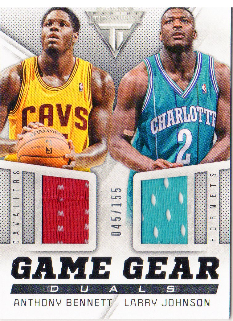 2013-14 Panini Titanium Game Gear Duals #33 Anthony Bennett/Larry Johnson/155