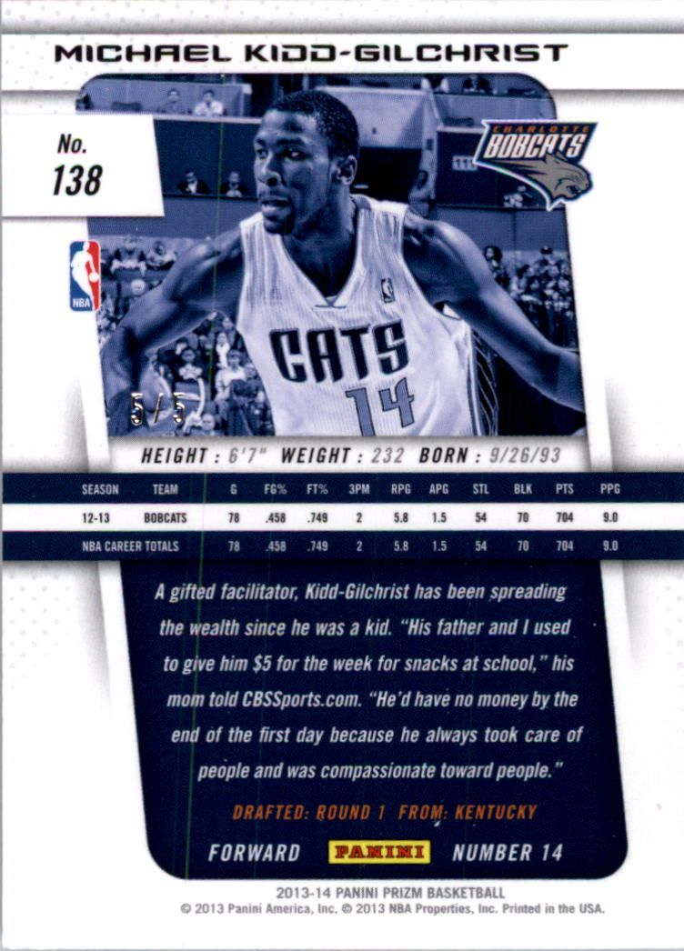 2013-14 Panini Prizm Industry Summit #138 Michael Kidd-Gilchrist
