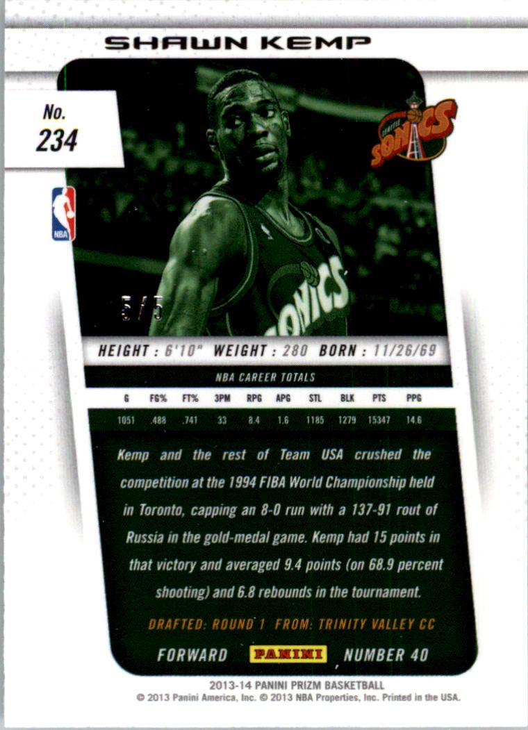 2013-14 Panini Prizm Industry Summit #234 Shawn Kemp
