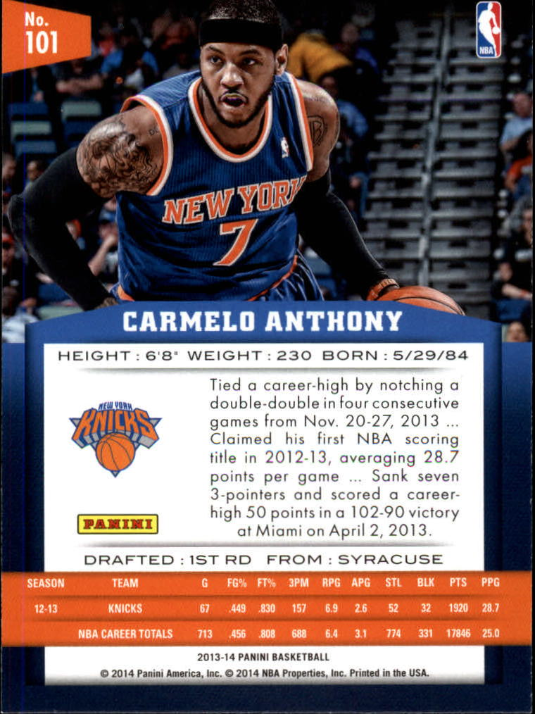 2013-14 Panini Gold Knights #101 Carmelo Anthony
