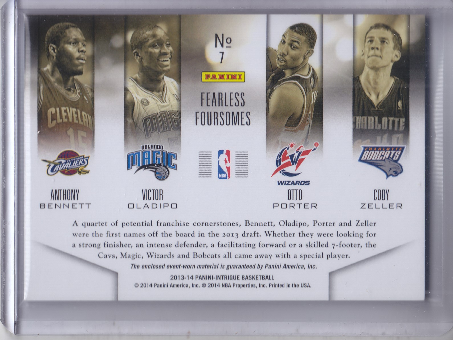 2013-14 Panini Intrigue Fearless Foursomes #7 Anthony Bennett/Cody Zeller/Otto Porter/Victor Oladipo/199