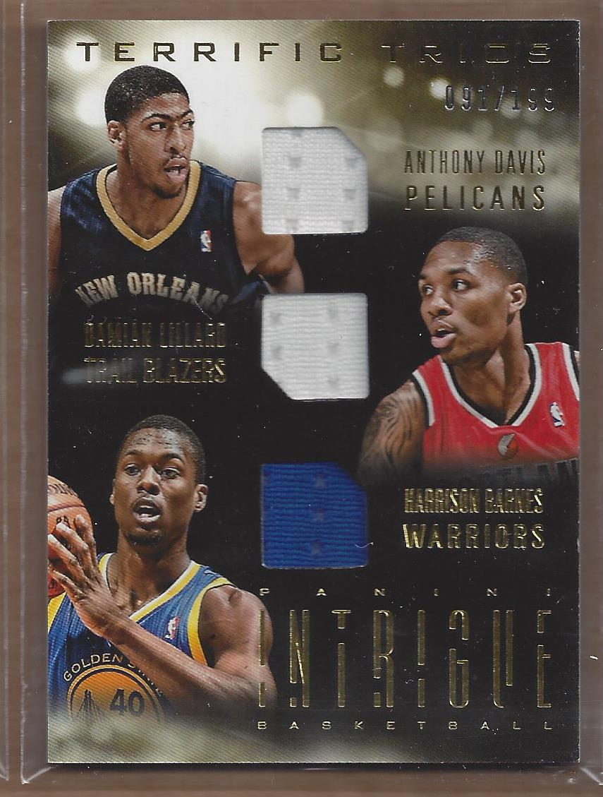 2013-14 Panini Intrigue Terrific Trios #22 Anthony Davis/Damian Lillard/Harrison Barnes/199