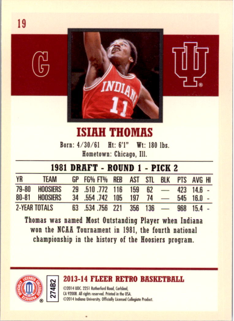 2013-14 Fleer Retro #19 Isiah Thomas