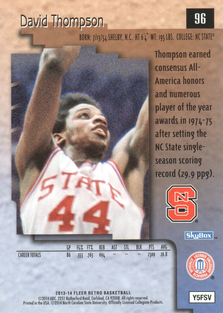 2013-14 Fleer Retro '96-97 SkyBox Premium #96 David Thompson