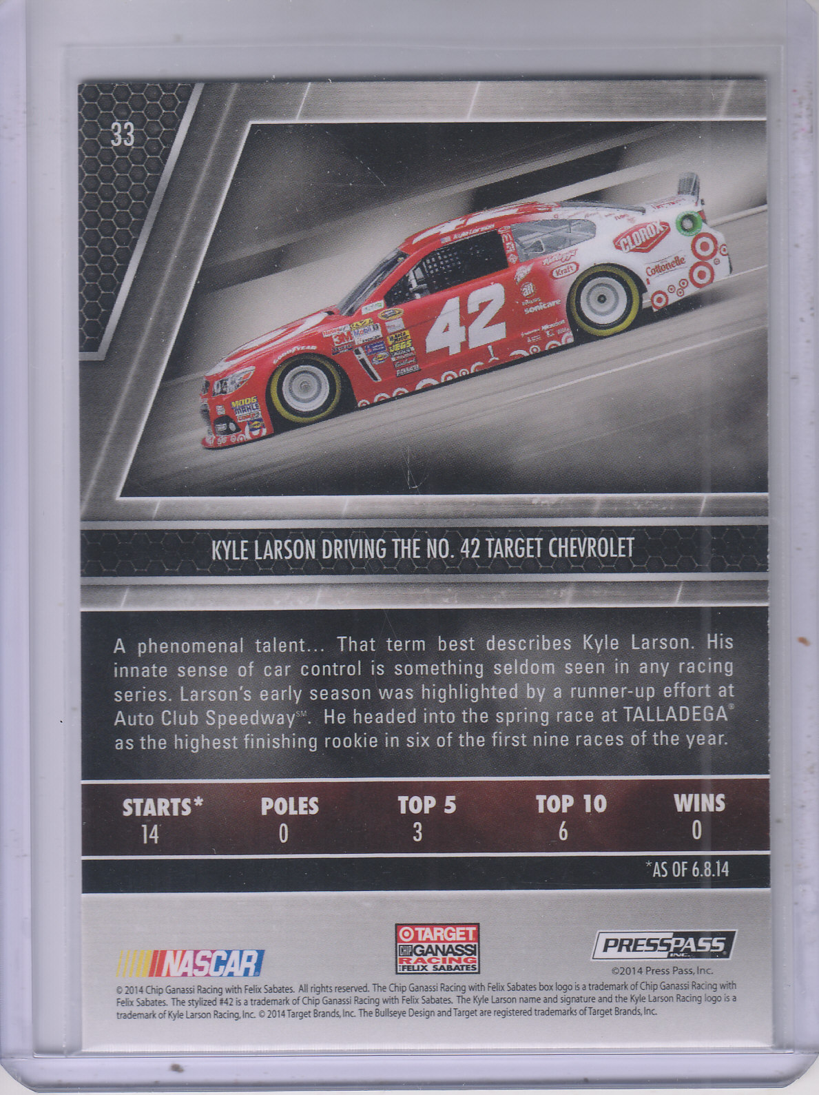 2014 Press Pass Redline #33 Kyle Larson CRC