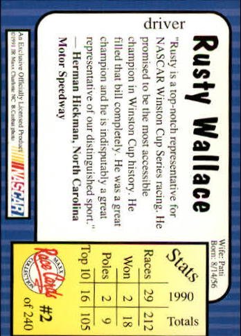 1991 Maxx #2 Rusty Wallace back image