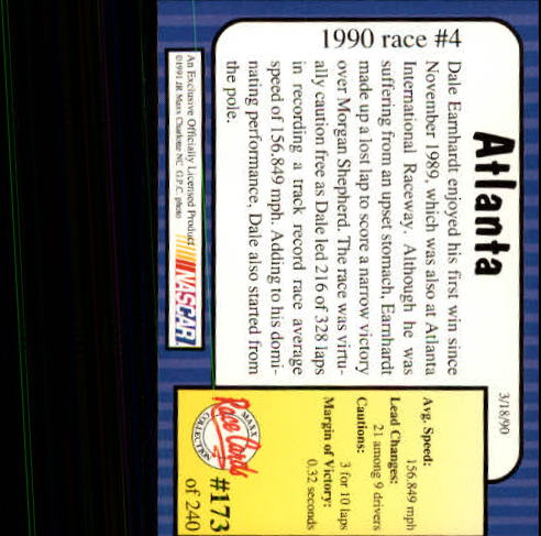 1991 Maxx #173 Dale Earnhardt/Year in Review back image