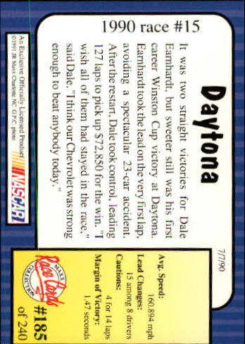 1991 Maxx #185 Dale Earnhardt/Year in Review back image