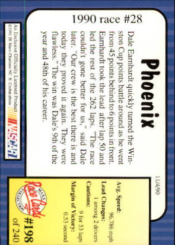 1991 Maxx #198 Dale Earnhardt/Year in Review