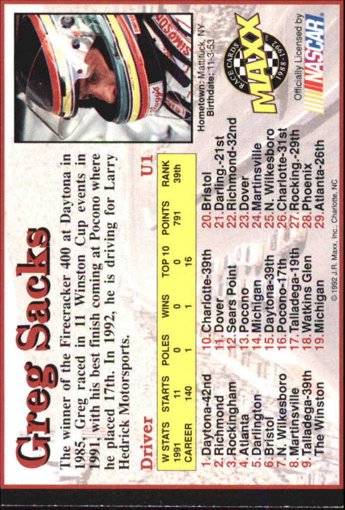 1992 Maxx Black Update #U1 Greg Sacks
