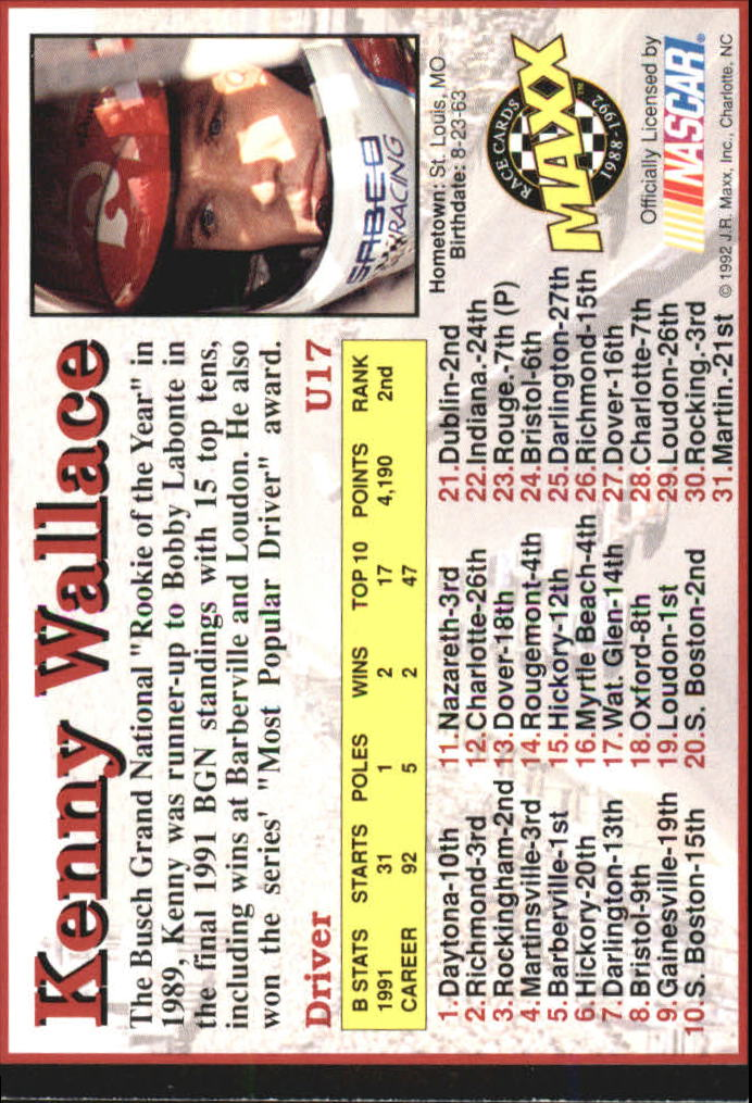 1992 Maxx Black Update #U17 Kenny Wallace