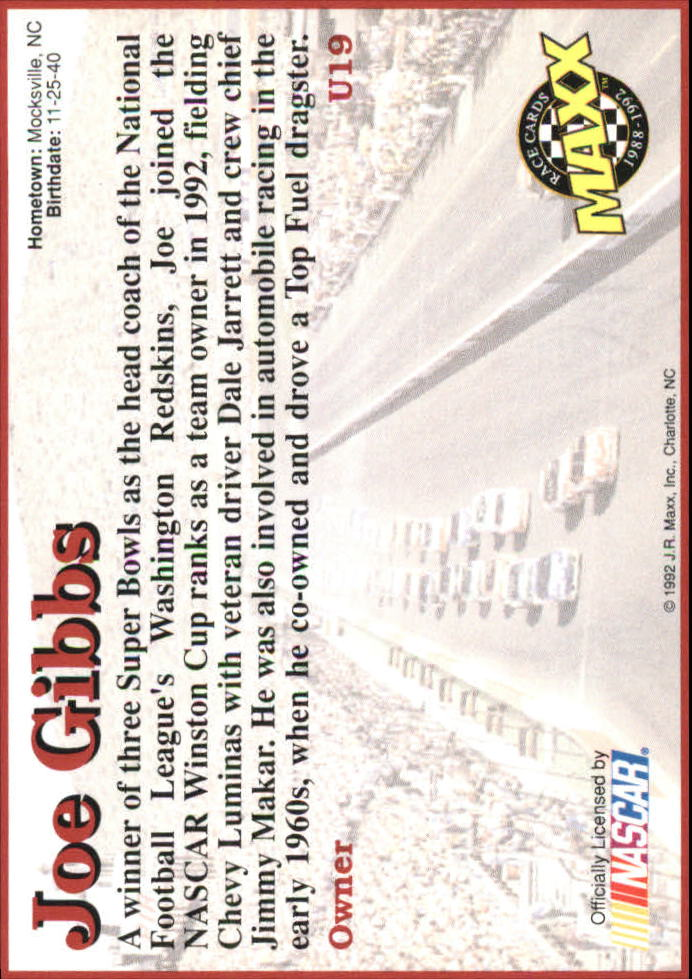 1992 Maxx Black Update #U19 Joe Gibbs RC back image