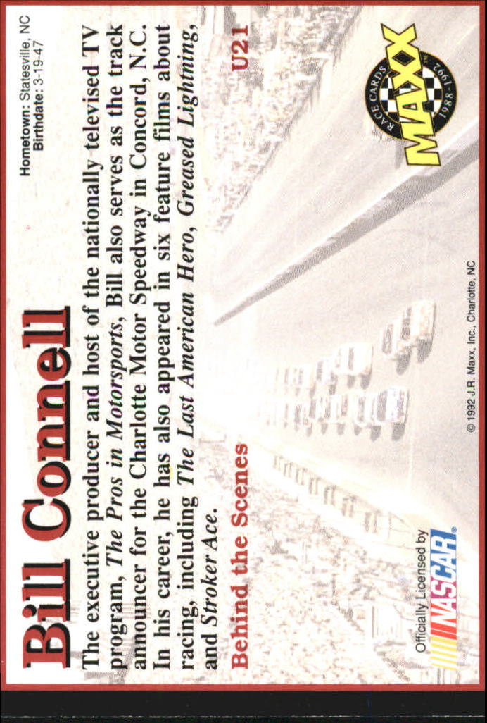 1992 Maxx Black Update #U21 Bill Connell RC back image