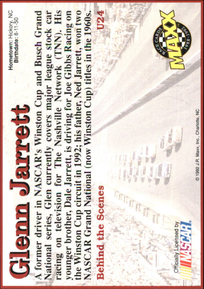 1992 Maxx Black Update #U24 Glenn Jarrett RC back image