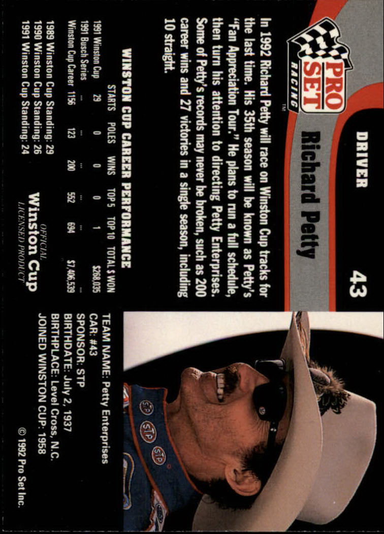 1992 Pro Set #43 Richard Petty back image