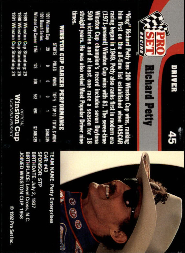 1992 Pro Set #45 Richard Petty